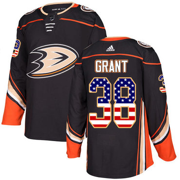 Adidas Ducks #38 Derek Grant Black Home Authentic USA Flag Stitched NHL Jersey