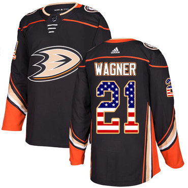 Adidas Ducks #21 Chris Wagner Black Home Authentic USA Flag Stitched NHL Jersey