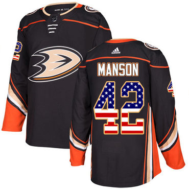 Adidas Ducks #42 Josh Manson Black Home Authentic USA Flag Stitched NHL Jersey