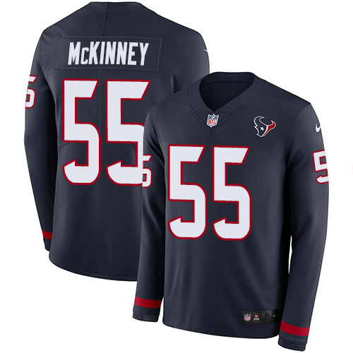 Nike Texans #55 Benardrick McKinney Navy Blue Team Color Men's Stitched NFL Limited Therma Long Sleeve Jersey