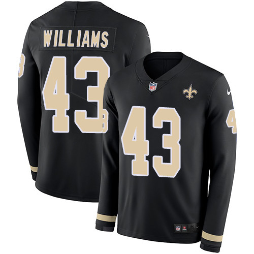 Nike Saints #43 Marcus Williams Black Team Color Men's Stitched NFL Limited Therma Long Sleeve Jersey