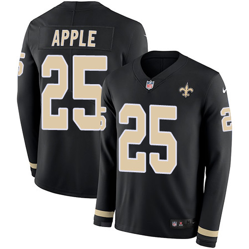 Nike Saints #25 Eli Apple Black Team Color Men's Stitched NFL Limited Therma Long Sleeve Jersey