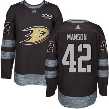 Adidas Ducks #42 Josh Manson Black 1917-2017 100th Anniversary Stitched NHL Jersey
