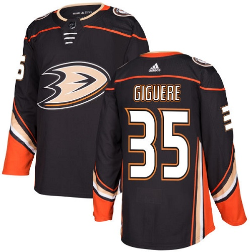 Adidas Ducks #35 Jean-Sebastien Giguere Black Home Authentic Stitched NHL Jersey