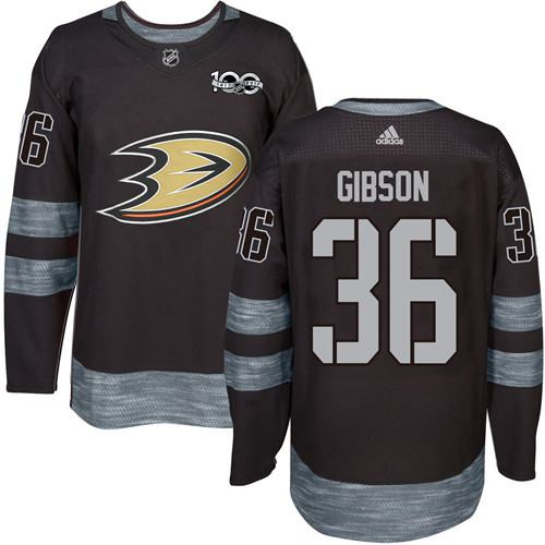 Adidas Ducks #36 John Gibson Black 1917-2017 100th Anniversary Stitched NHL Jersey