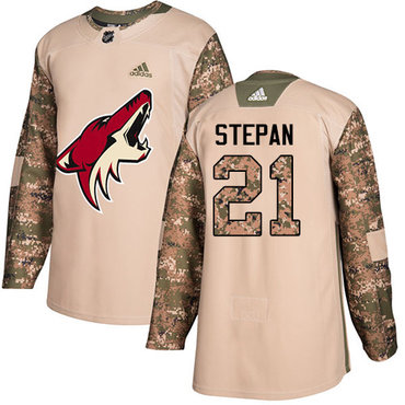 Adidas Coyotes #21 Derek Stepan Camo Authentic 2017 Veterans Day Stitched NHL Jersey
