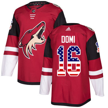 Adidas Coyotes #16 Max Domi Maroon Home Authentic USA Flag Stitched NHL Jersey