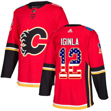Adidas Flames #12 Jarome Iginla Red Home Authentic USA Flag Stitched NHL Jersey