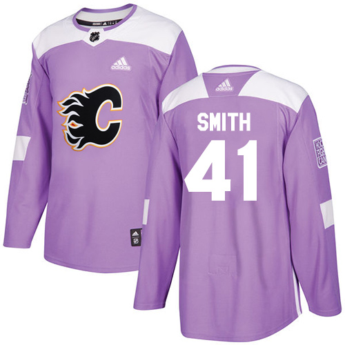 Adidas Flames #41 Mike Smith Purple Authentic Fights Cancer Stitched NHL Jersey