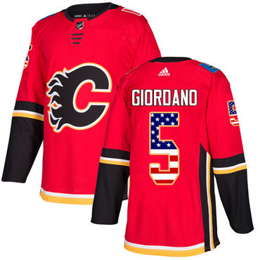 Adidas Flames #5 Mark Giordano Red Home Authentic USA Flag Stitched NHL Jersey