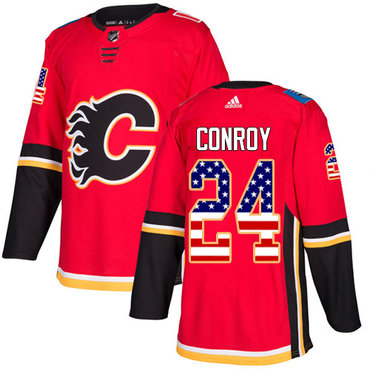 Adidas Flames #24 Craig Conroy Red Home Authentic USA Flag Stitched NHL Jersey