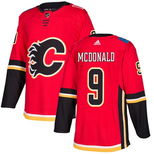 Adidas Flames #9 Lanny McDonald Red Home Authentic Stitched NHL Jersey
