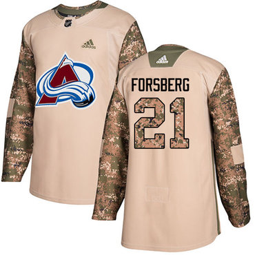 Adidas Avalanche #21 Peter Forsberg Camo Authentic 2017 Veterans Day Stitched NHL Jersey