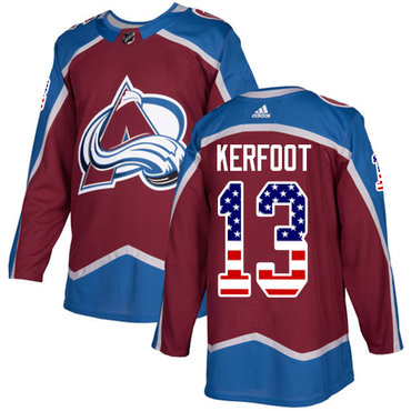 Adidas Avalanche #13 Alexander Kerfoot Burgundy Home Authentic USA Flag Stitched NHL Jersey
