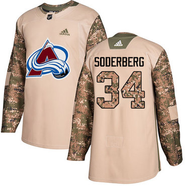 Adidas Avalanche #34 Carl Soderberg Camo Authentic 2017 Veterans Day Stitched NHL Jersey