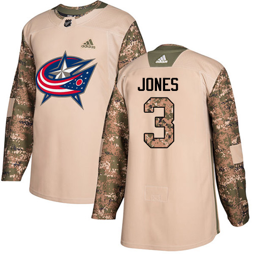 Adidas Blue Jackets #3 Seth Jones Camo Authentic 2017 Veterans Day Stitched NHL Jersey