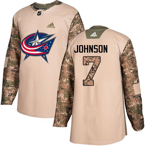 Adidas Blue Jackets #7 Jack Johnson Camo Authentic 2017 Veterans Day Stitched NHL Jersey