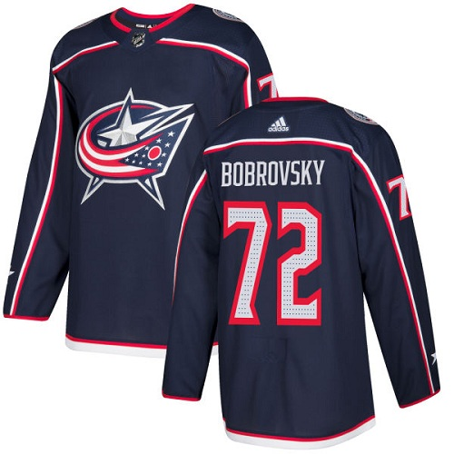 Adidas Blue Jackets #72 Sergei Bobrovsky Navy Blue Home Authentic Stitched NHL Jersey
