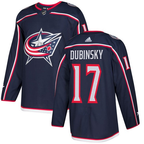 Adidas Blue Jackets #17 Brandon Dubinsky Navy Blue Home Authentic Stitched NHL Jersey