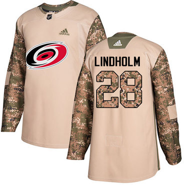 Adidas Hurricanes #28 Elias Lindholm Camo Authentic 2017 Veterans Day Stitched NHL Jersey