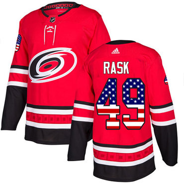 Adidas Hurricanes #49 Victor Rask Red Home Authentic USA Flag Stitched NHL Jersey