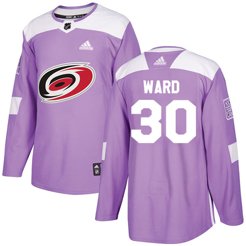 Adidas Hurricanes #30 Cam Ward Purple Authentic Fights Cancer Stitched NHL Jersey