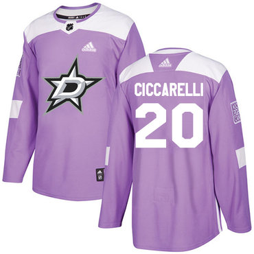 Adidas Stars #20 Dino Ciccarelli Purple Authentic Fights Cancer Stitched NHL Jersey