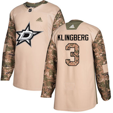 Adidas Stars #3 John Klingberg Camo Authentic 2017 Veterans Day Stitched NHL Jersey