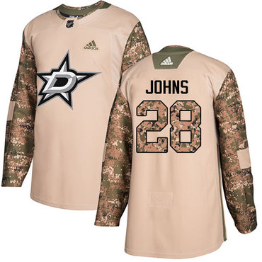 Adidas Stars #28 Stephen Johns Camo Authentic 2017 Veterans Day Stitched NHL Jersey