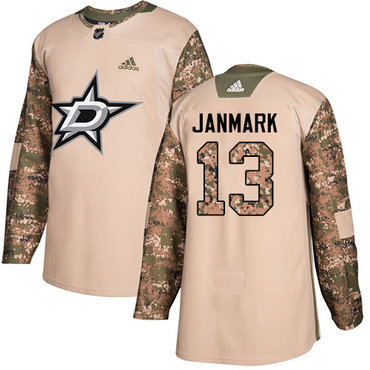 Adidas Stars #13 Mattias Janmark Camo Authentic 2017 Veterans Day Stitched NHL Jersey