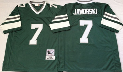 Eagles 7 Ron Jaworski Green Throwback Jersey