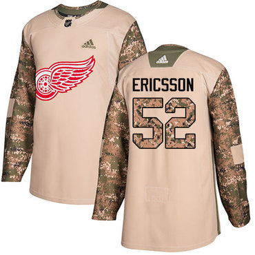 Adidas Red Wings #52 Jonathan Ericsson Camo Authentic 2017 Veterans Day Stitched NHL Jersey