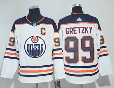 Adidas Oilers #99 Wayne Gretzky White Road Authentic Stitched NHL Jersey