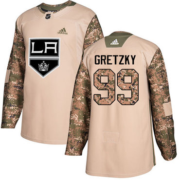 Adidas Kings #99 Wayne Gretzky Camo Authentic 2017 Veterans Day Stitched NHL Jersey