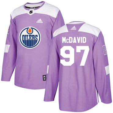 Adidas Oilers #97 Connor McDavid Purple Authentic Fights Cancer Stitched NHL Jersey