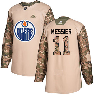 Adidas Edmonton Oilers #11 Mark Messier Camo Authentic 2017 Veterans Day Stitched NHL Jersey