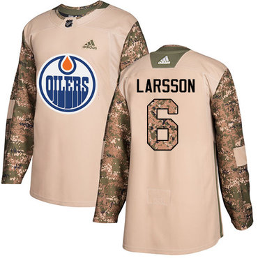 Adidas Edmonton Oilers #6 Adam Larsson Camo Authentic 2017 Veterans Day Stitched NHL Jersey