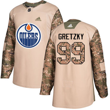 Adidas Oilers #99 Wayne Gretzky Camo Authentic 2017 Veterans Day Stitched NHL Jersey