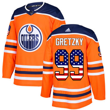 Adidas Edmonton Oilers #99 Wayne Gretzky Orange Home Authentic USA Flag Stitched NHL Jersey
