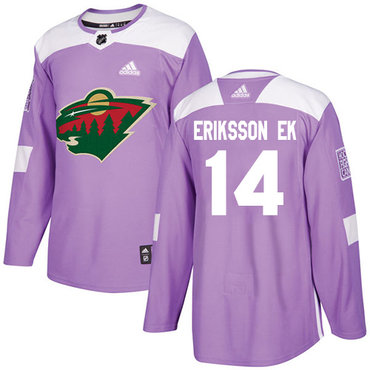 Adidas Wild #14 Joel Eriksson Ek Purple Authentic Fights Cancer Stitched NHL Jersey