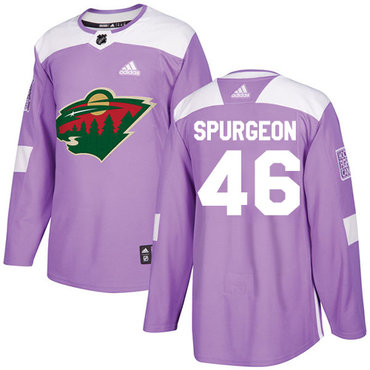 Adidas Wild #46 Jared Spurgeon Purple Authentic Fights Cancer Stitched NHL Jersey