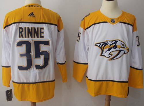 Adidas Predators #35 Pekka Rinne White Road Authentic Stitched NHL Jersey