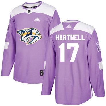 Adidas Predators #17 Scott Hartnell Purple Authentic Fights Cancer Stitched NHL Jersey