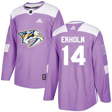 Adidas Predators #14 Mattias Ekholm Purple Authentic Fights Cancer Stitched NHL Jersey