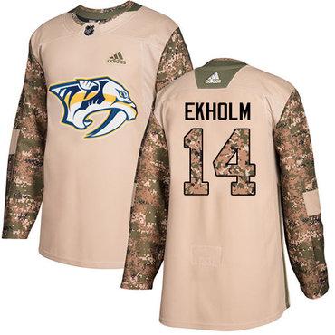 Adidas Predators #14 Mattias Ekholm Camo Authentic 2017 Veterans Day Stitched NHL Jersey