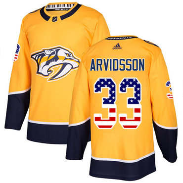 Adidas Predators #33 Viktor Arvidsson Yellow Home Authentic USA Flag Stitched NHL Jersey