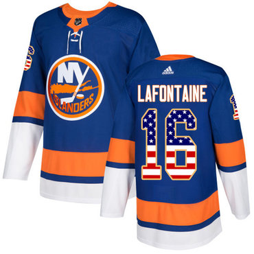 Adidas Islanders #16 Pat LaFontaine Royal Blue Home Authentic USA Flag Stitched NHL Jersey