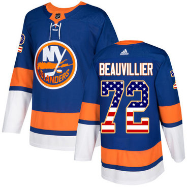 Adidas Islanders #72 Anthony Beauvillier Royal Blue Home Authentic USA Flag Stitched NHL Jersey