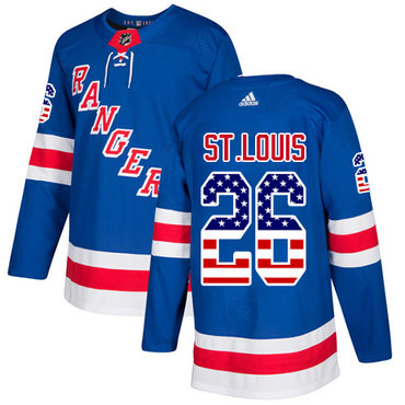 Adidas Rangers #26 Martin St.Louis Royal Blue Home Authentic USA Flag Stitched NHL Jersey