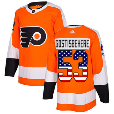 Adidas Flyers #53 Shayne Gostisbehere Orange Home Authentic USA Flag Stitched NHL Jersey